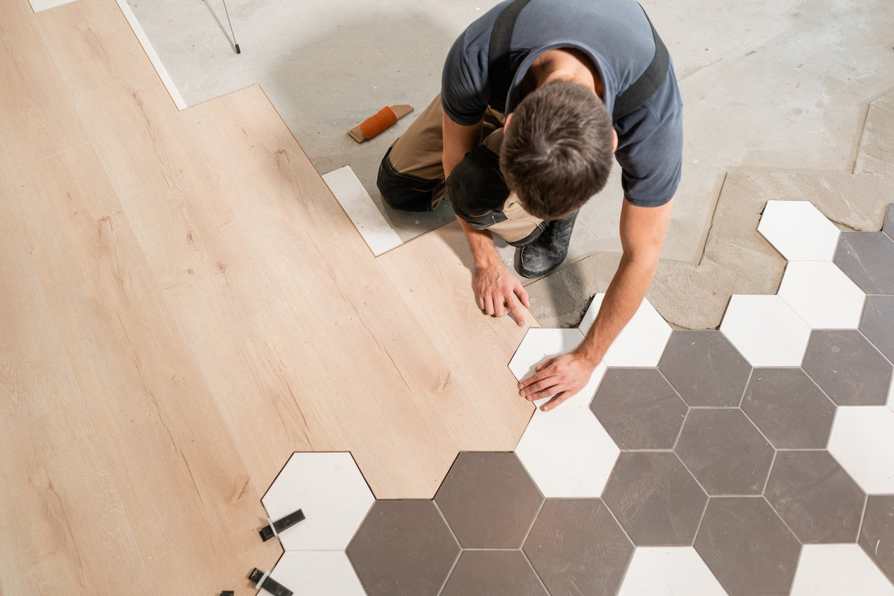 custom tile installation with wood plank transition
